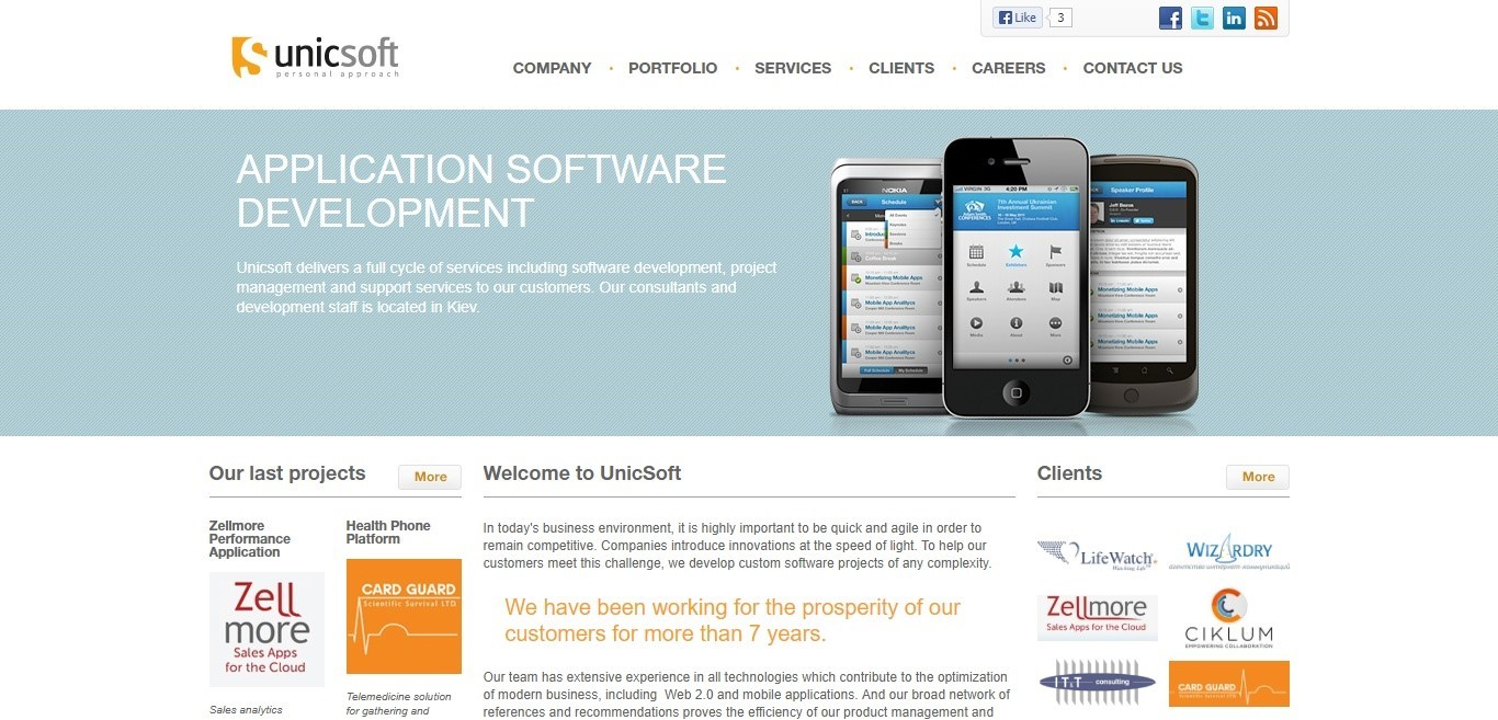 Unicsoft website 2003