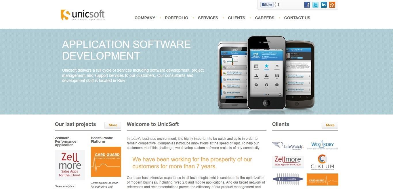 Unicsoft website 2003